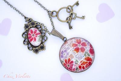 Collier pendentif rétro tissu japonais rose violet - chez violette