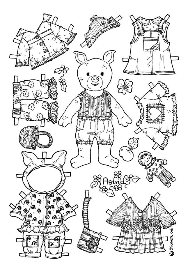 Karen`s Paper Dolls: Astrid 1-2 Paper Doll to Colour