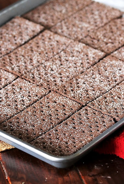 Chocolate Graham Crackers Laid Out in Baking Sheet Image