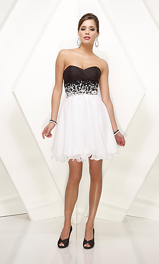 formal wedding dresses strapless black and white short