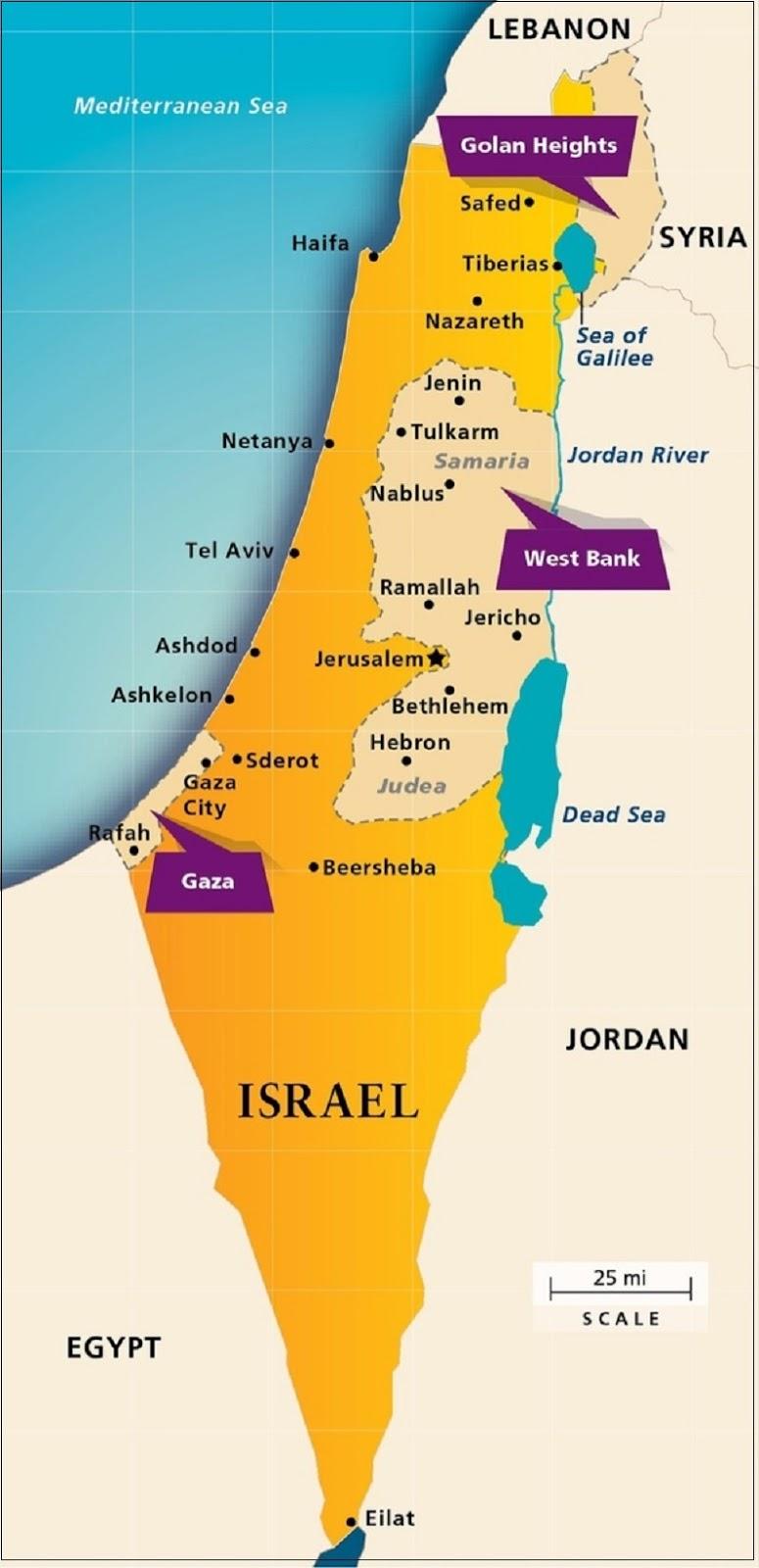Peta Negara Israel dan Palestina