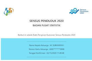 bukti telah melakukan sensus penduduk 2020