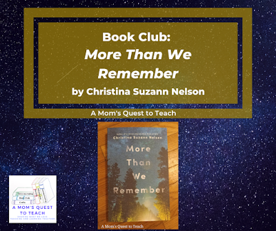 background of stars; A Mom's Quest to Teach Logo; book cover of More Than We Remember