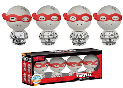 New York Comic Con 2015 Exclusive Black & White Comic Book Edition Teenage Mutant Ninja Turtles Dorbz Vinyl Figure Set by Funko - Leonardo, Donatello, Michaelangelo & Raphael