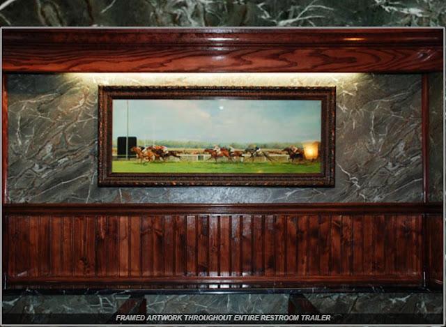 Framed Artwork throughout Entire Portable Restroom Trailer