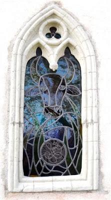 vitrail, vache, fenêtre gothique
