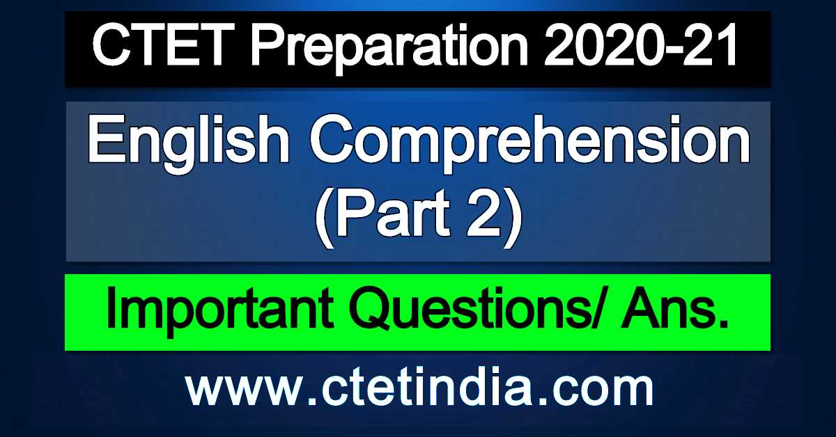 CTET: English Comprehension (Part 2)
