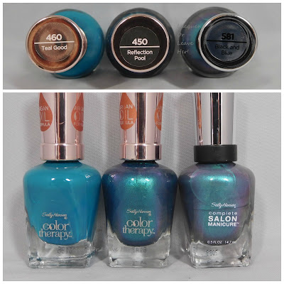 Sally Hansen Teal Good, Reflection Pool, and Black and Blue