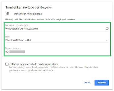 Tambah Metode Pembayaran Bank National Nobu