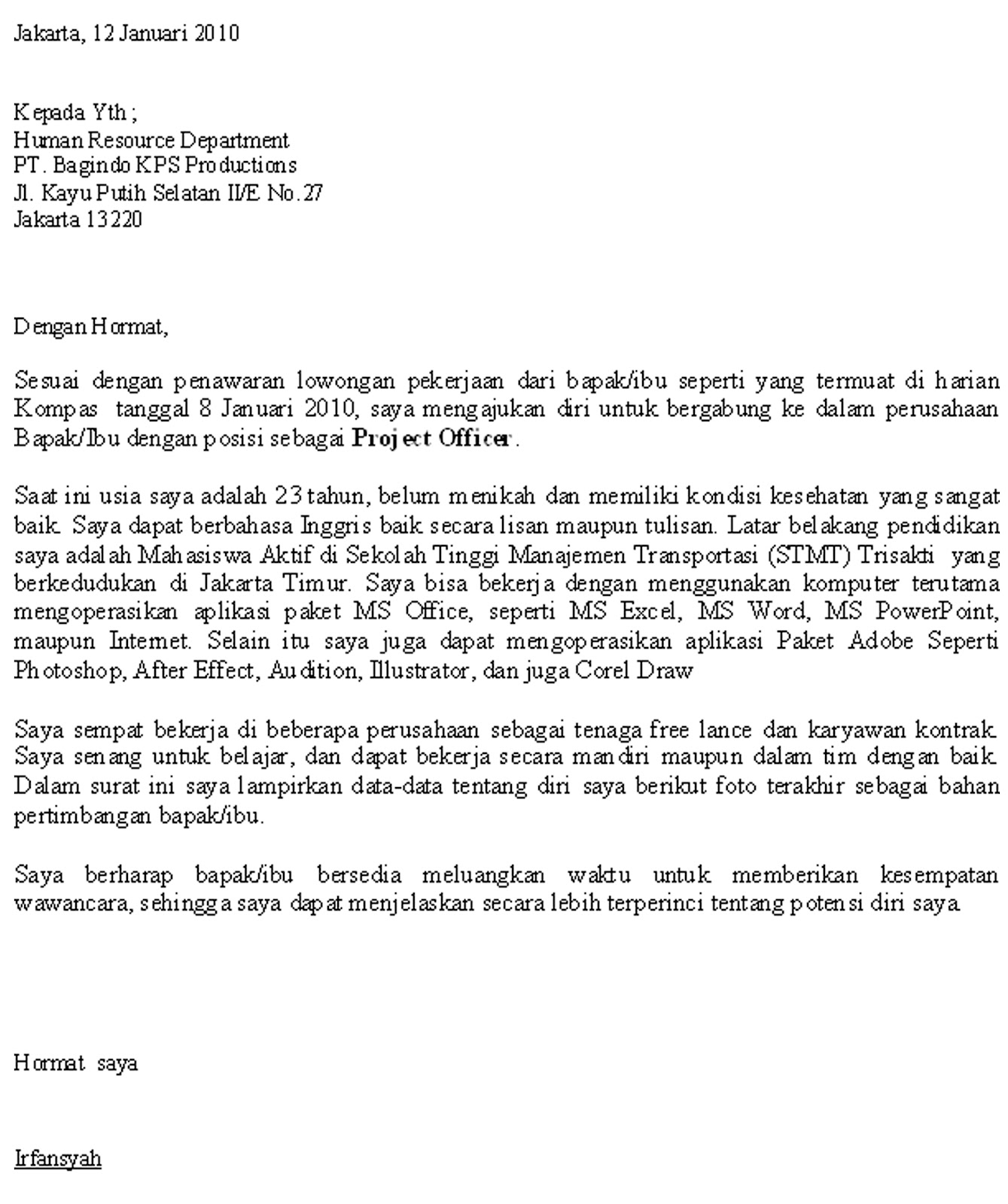 Lowongan Kerja Karawang Januari 2013 Terbaru Lowongan Kerja Perum Peruri Karawang Oktober 2016 Terbaru Contoh Surat Lamaran Kerja Bahasa Inggris