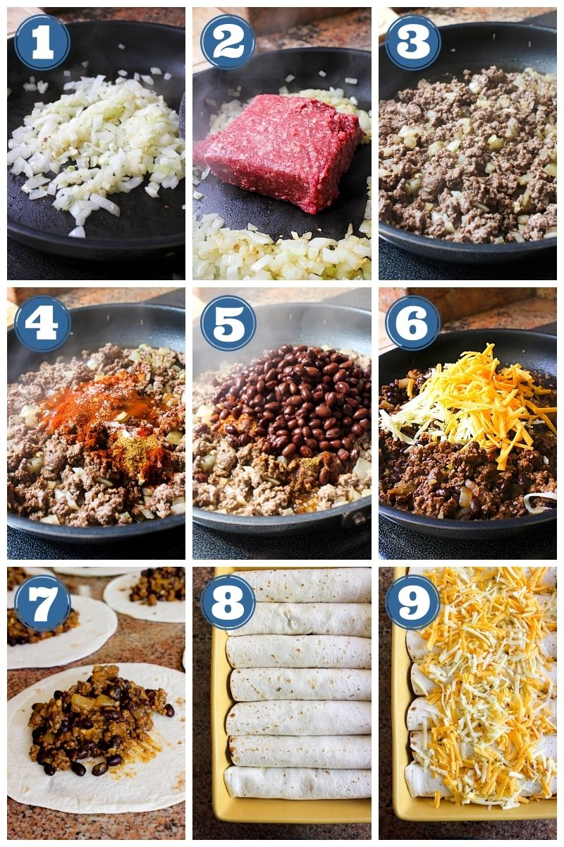 Collage of step by step images making beef and bean burritos.