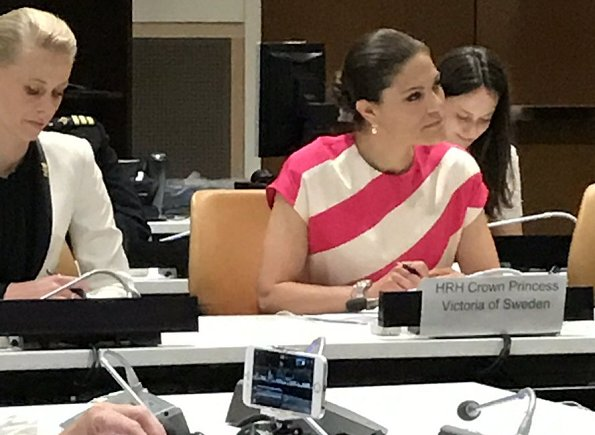 Crown Princess Victoria attended at a meeting on plastic waste in coastal and marine environment in General Assembly building, housing the United Nations General Assembly as part of the Ocean Conference