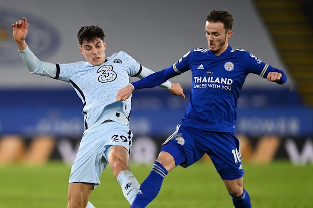 Chelsea midfielder Kai Havertz and Leicester midfielder James Maddison