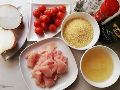 ingredientes para cous cous con pollo y verduras