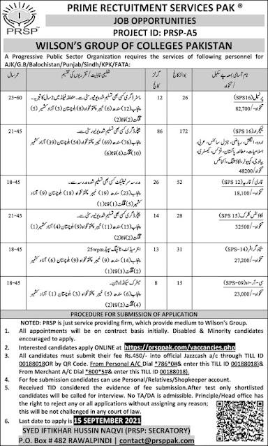 Latest jobs-Wilson Group of College jobs in Pakistan 2021