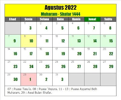 kalender islam hijriyah agustus 2022 masehi - kanalmu
