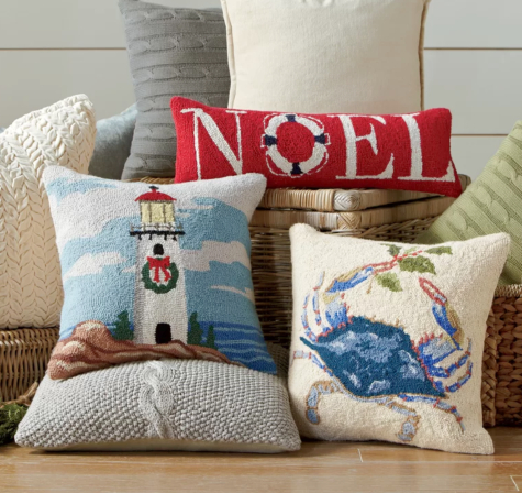 Hooked Coastal Christmas Holiday Pillows