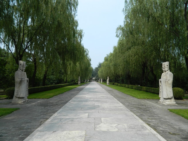 Ming Tombs statues along Sacred Way path by garden muses: a Toronto gardening blog