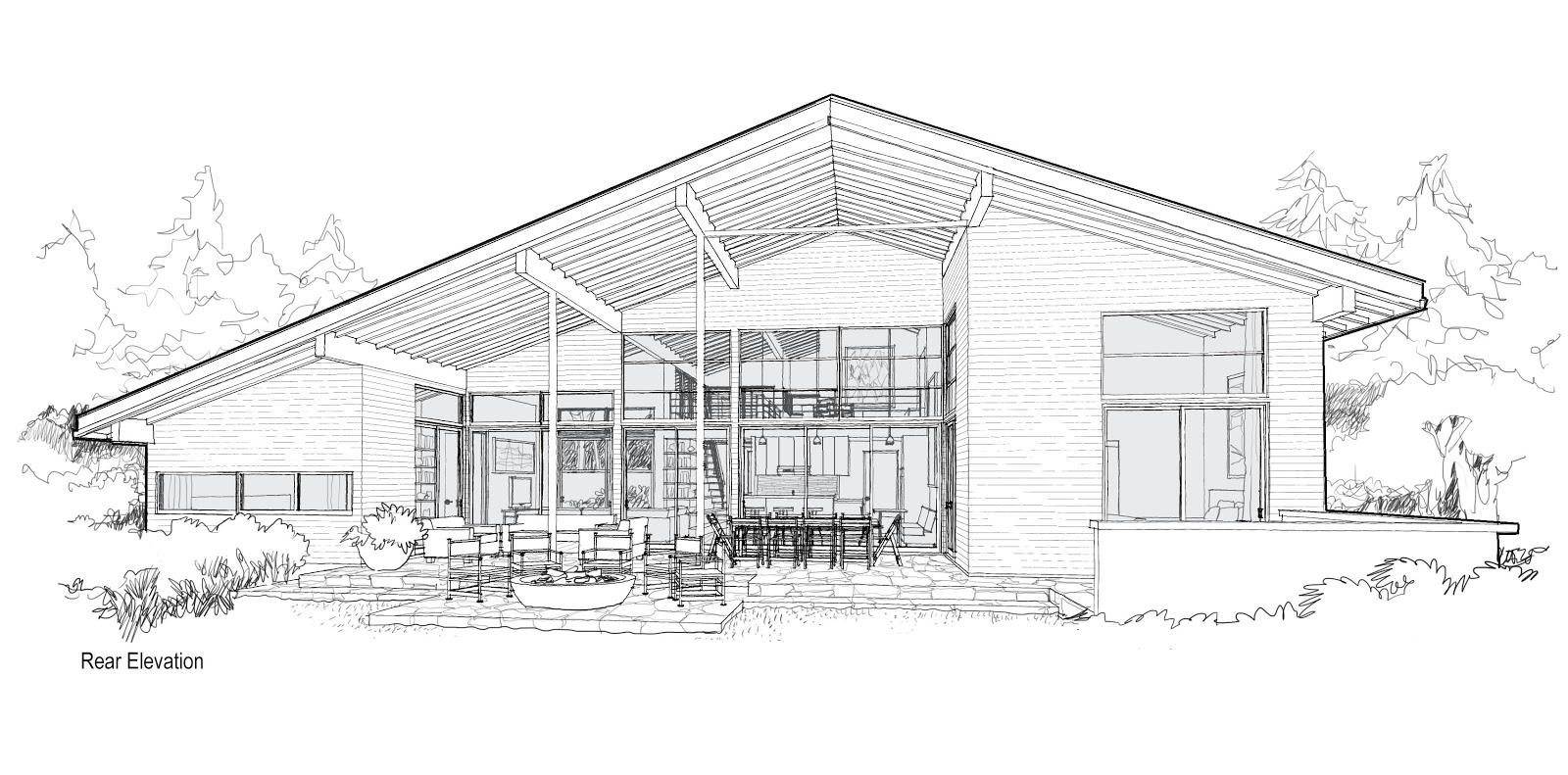 Mcm design modern house plan 3 renderings for Architecture house drawing