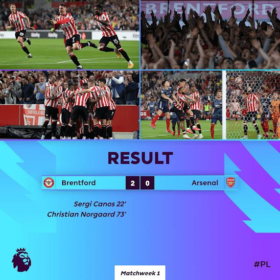 Brentford Kalahkan Arsenal Dalam Perlawanan Pertama EPL