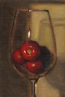 Oil painting of several cherry tomatoes in a wine glass.