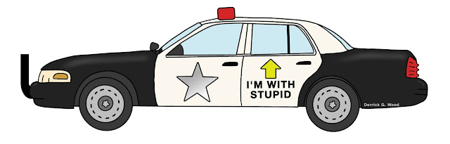 a funny drawing of a cop car that says im with stupid pointing towards the back seat