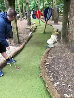 Darren Howe playing Adventure Golf at Center Parcs in Sherwood Forest. Photo from the Howe family archive, August 2017