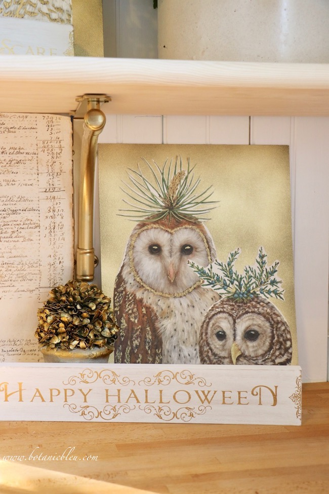 Use spray adhesive to attach paper owl prints to mat board sprayed with gold metallic spray paint
