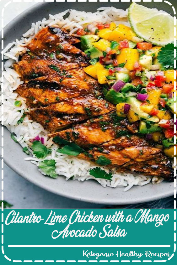Cilantro-Lime Chicken with a Mango Avocado Salsa