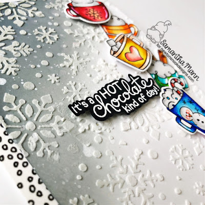 It's a Hot Chocolate Kind of Day Card by Samantha Mann for Newton's Nook Designs, Embossing Paste, Stencil, Snowflakes, Heat Embossing, Cup of Cocao, Snowfall, #newtonsnook #snowflakes #cocoa