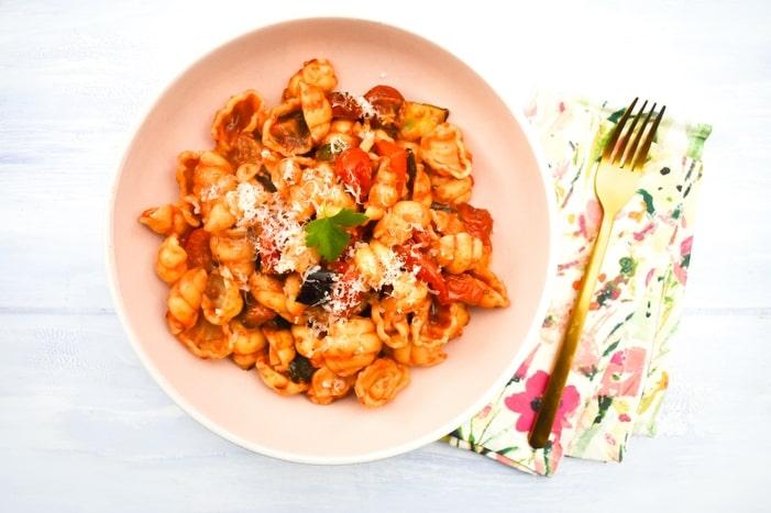 Roasted Ratatouille & Cherry Tomato Pasta