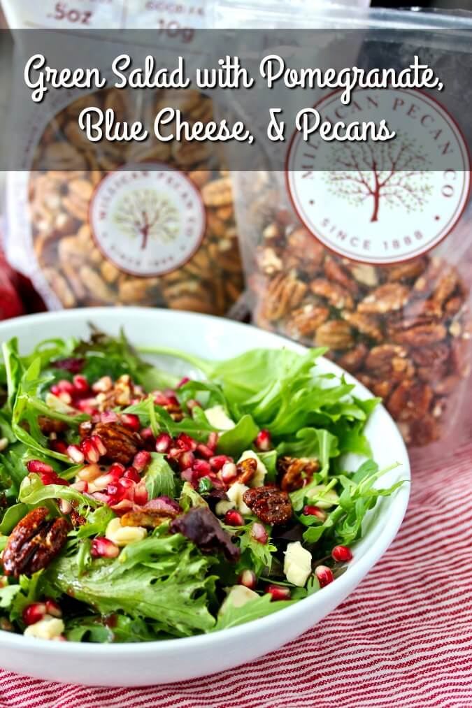 Mixed green salad with Pomegranate, Blue Cheese, and Sweet and Spicy Pecans