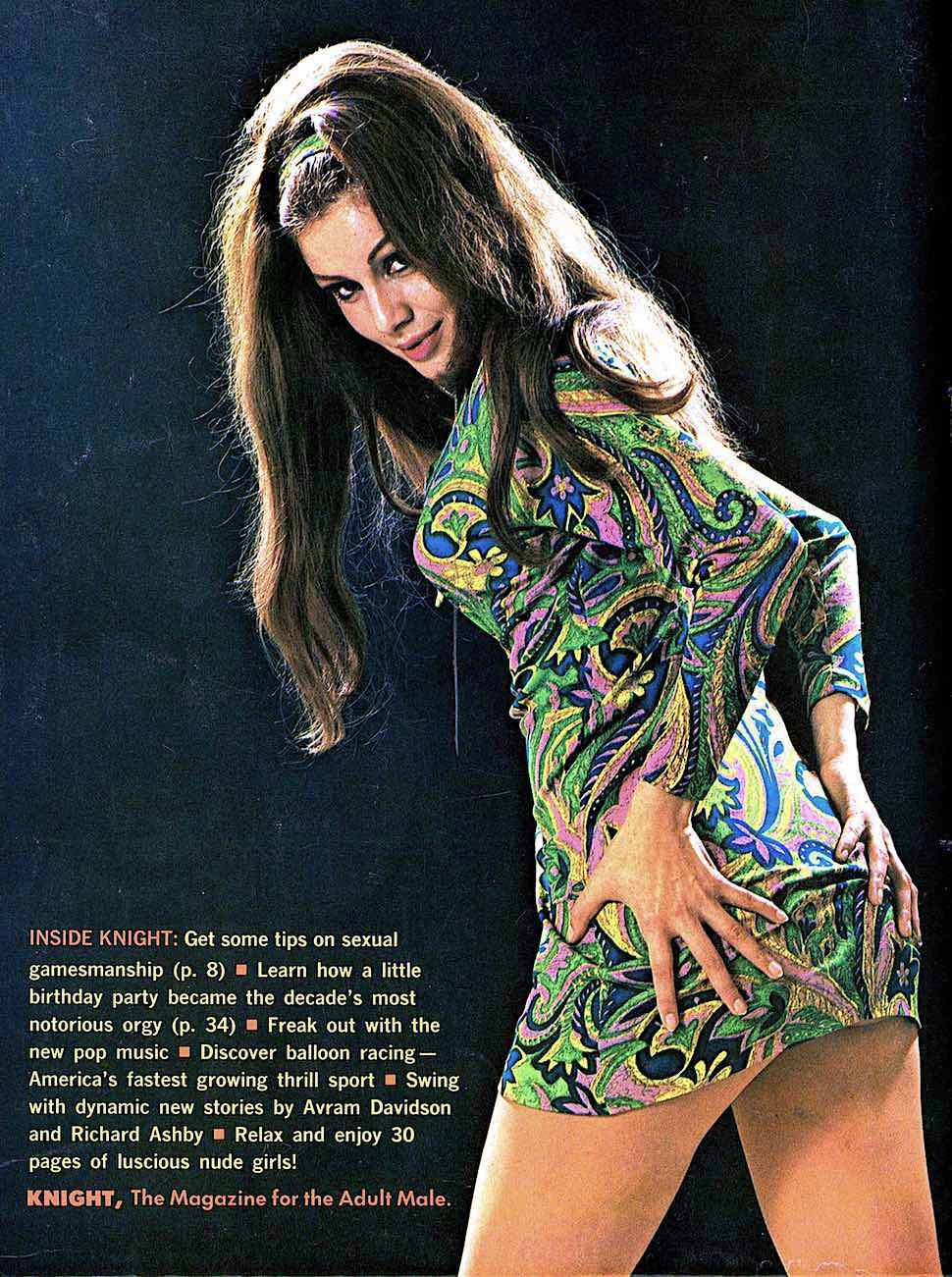 a psychedelic swinger woman from a 1967 men's magazine, Knight Magazine