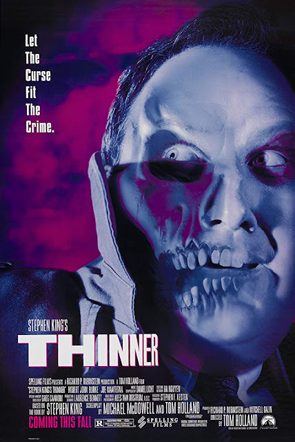 Movie poster for the 1996 horror film Stephen King's Thinner, starring Robert John Burke, Joe Mantegna, Lucinda Jenney, and Bethany Joy Lenz