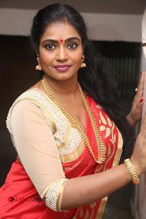 Actress Jayavani Stills in Red Saree at Intlo Deyyam Nakem Bhayam Trailer Launch  0089