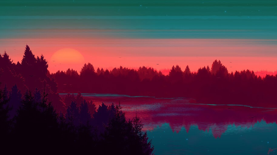 Sunset, River, Scenery, Digital Art, 4K, #4.1988