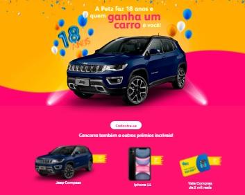 Cadastrar Promoção Petz 18 Anos Aniversário 2020 - Jeep Compass, iPhone 11 e Vale-Compras