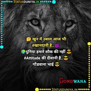 Gondwana Attitude Status Shayari In Hindi 2021, 🤔 खून में उबाल आज भी #खानदानी है..😈  🌍दुनिया हमारे शौक की नहीं 😎#Attitude की दीवानी है..😎  गोंडवाना भाई 😎