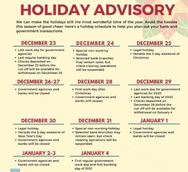 DBP holiday schedule