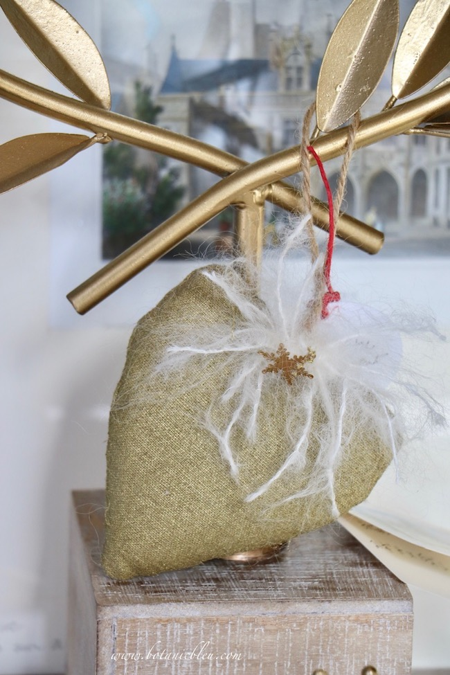 French Country Christmas Event 2019 has handcrafted gold fabric heart ornaments with mohair  details