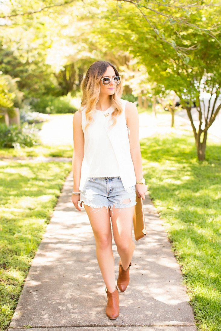 denim cutoff shorts with brown leather ankle booties