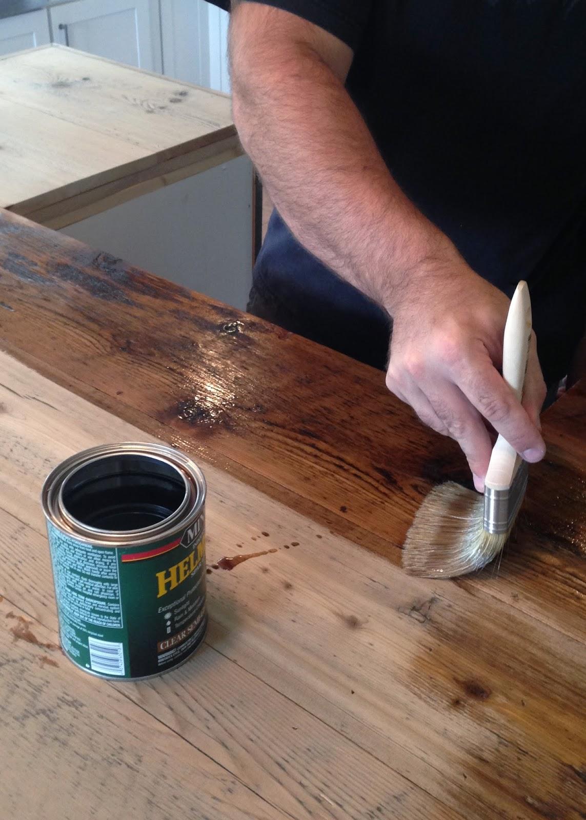 diy reclaimed wood countertop wooden kitchen countertops DIY Reclaimed Wood Countertop coating with Spar Urethane