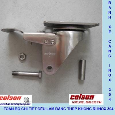 Bánh xe PA phi 100 không xoay càng inox 304 Colson Mỹ | 2-4408-254 banhxedayhang.net