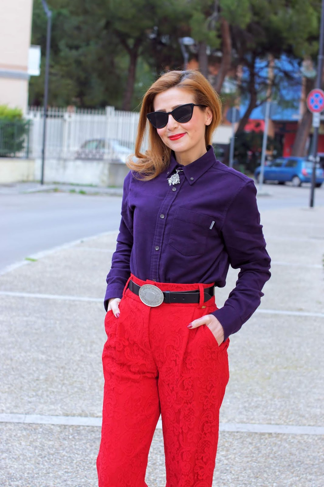 Lace culotte pants: a red and purple outfit on Fashion and Cookies fashion blog, fashion blogger style