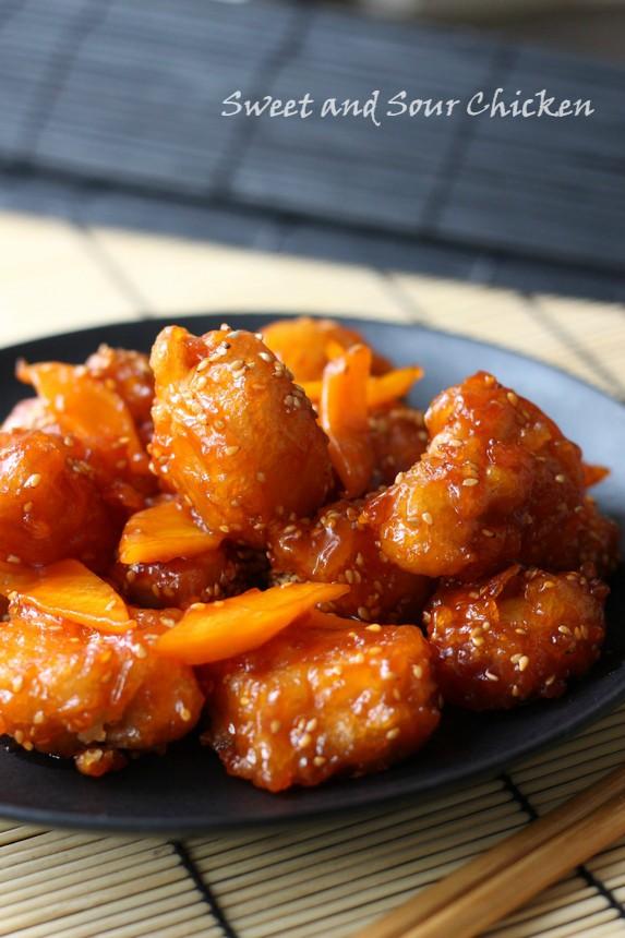 панирано пиле в сладко кисел сос, пиле в сладко кисел сос по китайскипанирани пилешки хапки  в сладко кисел сос по китайски