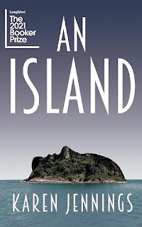 Book cover - side view of an island in the shape of a face profile looking up to the sky