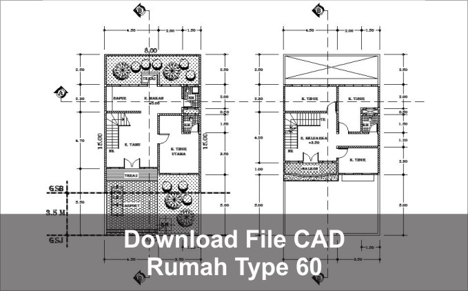 download rumah type 60 autocad dwg