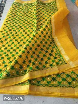 Kota Doria Embroidered Cotton Sarees