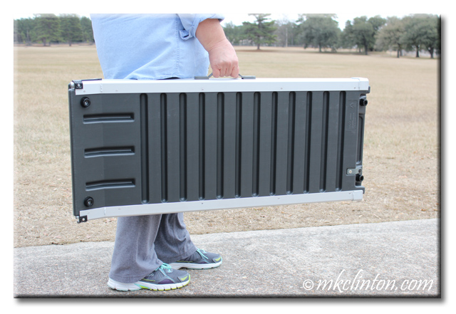 Woman carrying Solvit Deluxe Telescoping Pet Ramp