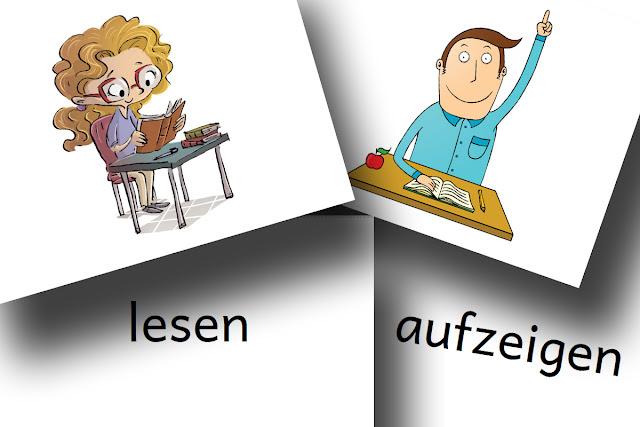 DaZ Material Verben Bildkarten Schule kostenlos